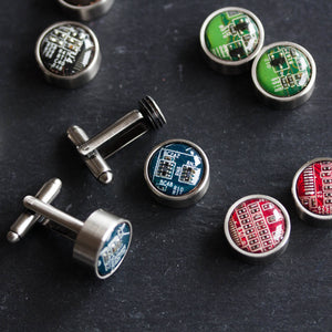 Cufflinks with interchangeable buttons, recycled circuit board cufflinks