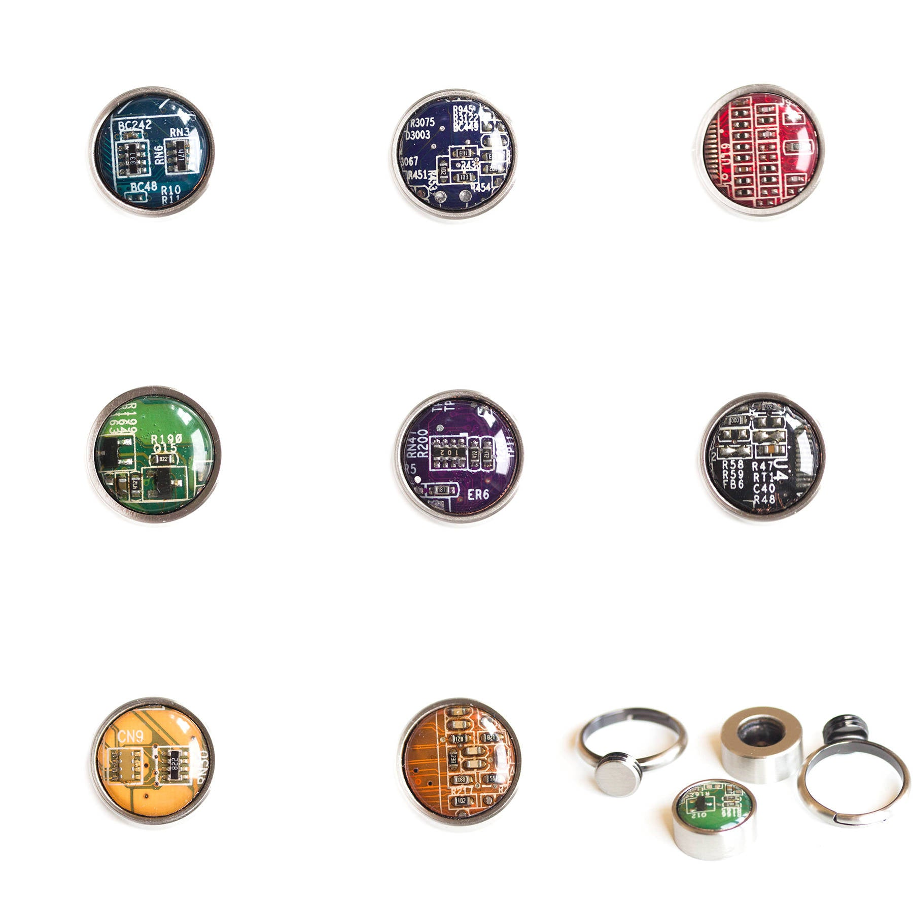 Rings with interchangeable buttons, recycled circuit board ring, unisex jewelry