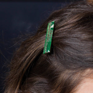 "This is cool stylish hair barrette will help you show your personality!  The barrette will hold a small amount of hair. The circuit board piece is 1 3/4"" (45 mm) in diameter. The board piece is covered with clear resin, so the surface is shiny as glass.  You may choose from next colors of the circuit board pieces: - blue - dark blue - red - green - black (dark brown) - purple - yellow (olive green) - orange  ****** You will receive one similar to those you see in pictures, but not the particular one. The co"