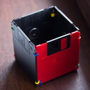 Pen and Pencil cup made with floppy disks - red