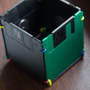 Pen and Pencil Cup made with recycled floppy discs - green