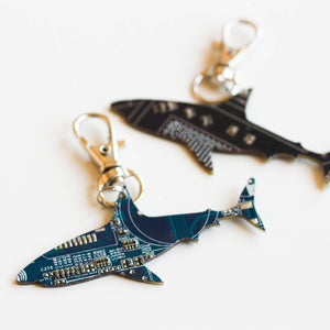 Circuit board shark  - keychain or bag tag