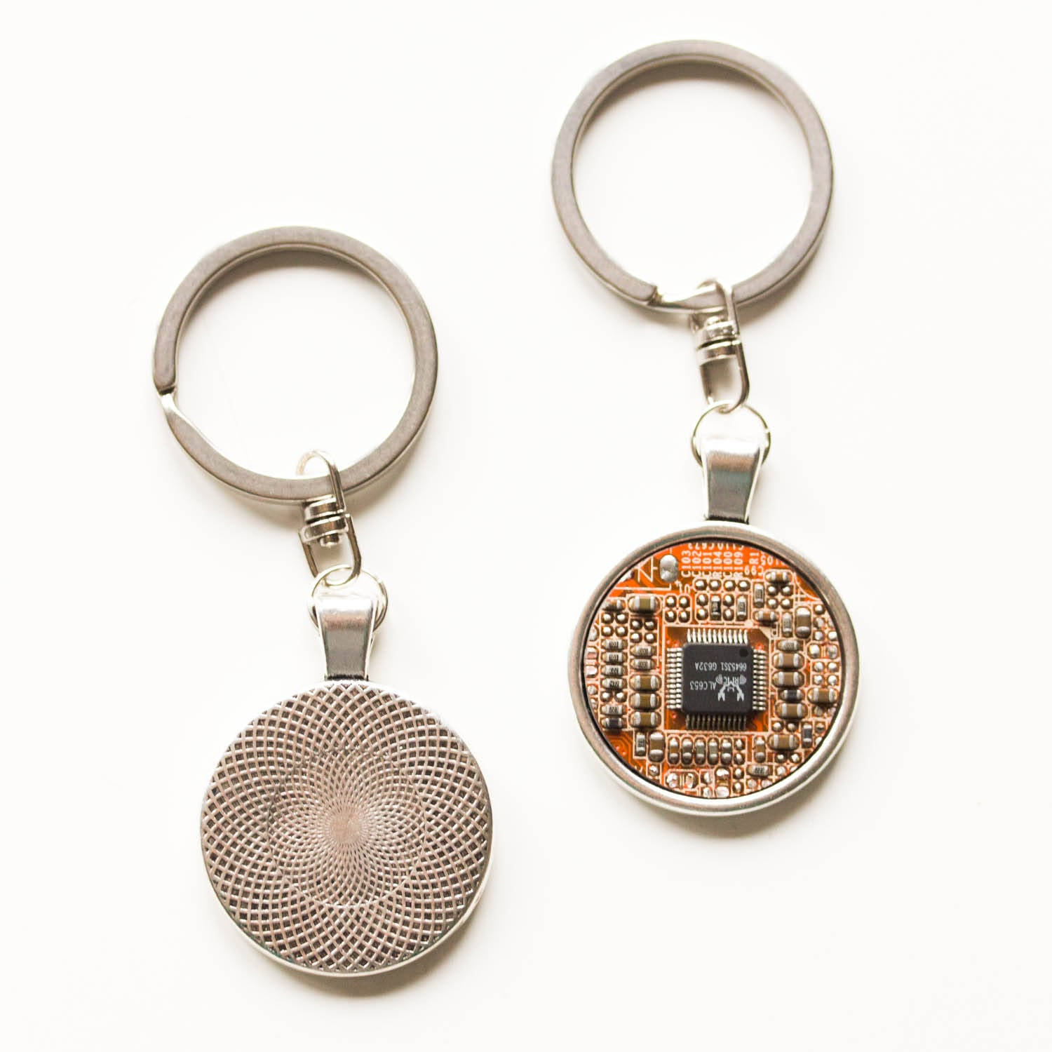 Keychains And Money Clips Recomputing Copper Recycled Circuit Board Earrings Dangle Keychain