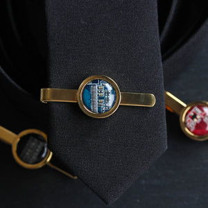 Golden Tie clip, recycled circuit board tie bar, computer nerd gift