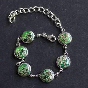 Colorful bracelet made with recycled circuit board