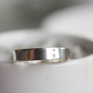 Semicolon ring - hand stamped sterling silver ring