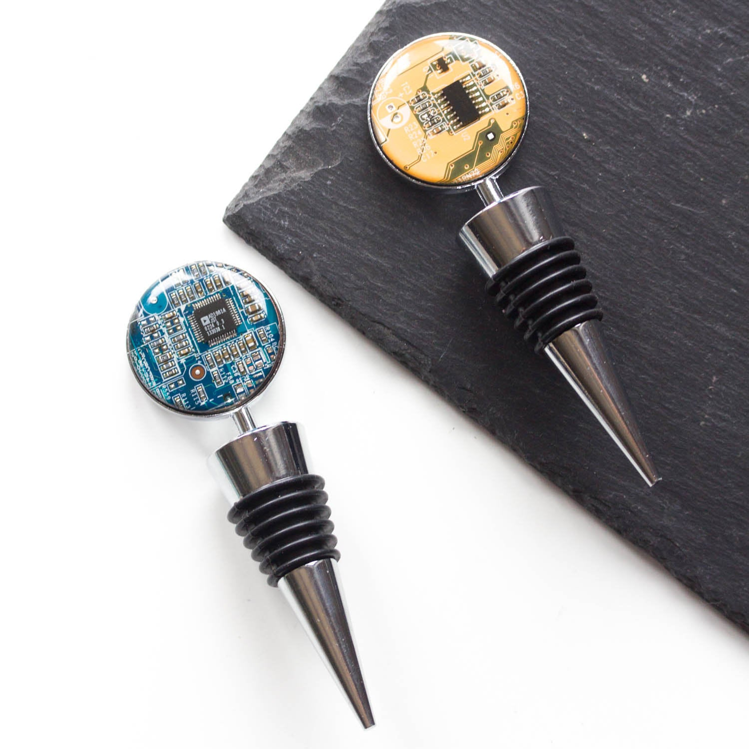Wine Bottle stopper with a circuit board piece, groomsmen gift