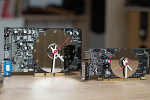 Desk clock - Recycled slim graphics card clock, unique office clock, black circuit board