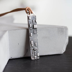 Melted circuit board necklace, argentium silver bar shaped as circuit board piece