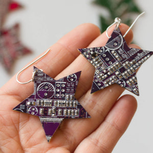 Circuit board star earrings, techie, steampunk