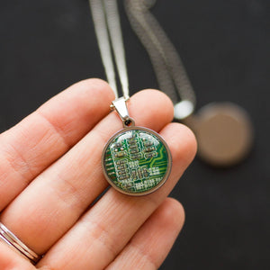 REAL Circuit board necklace, 18mm round, gift for computer nerd, recycled computer motherboard