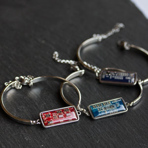 Recycled circuit board bracelet, stainless steel
