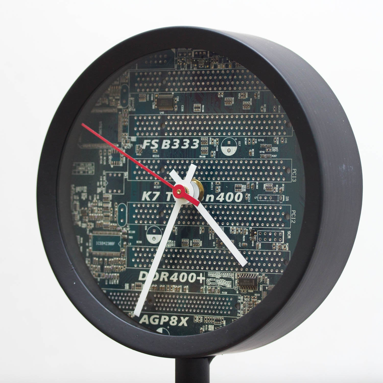 Unique Desk clock, recycled blue circuit board clock