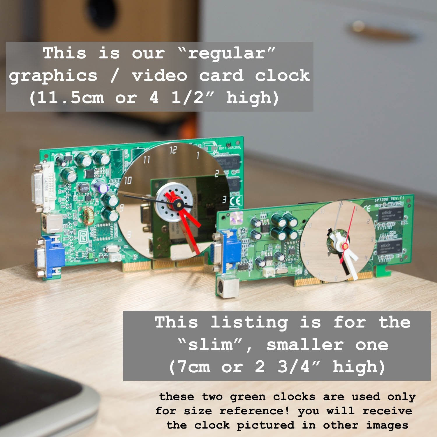 Desk clock - Recycled slim graphics card clock, unique office clock, red circuit board