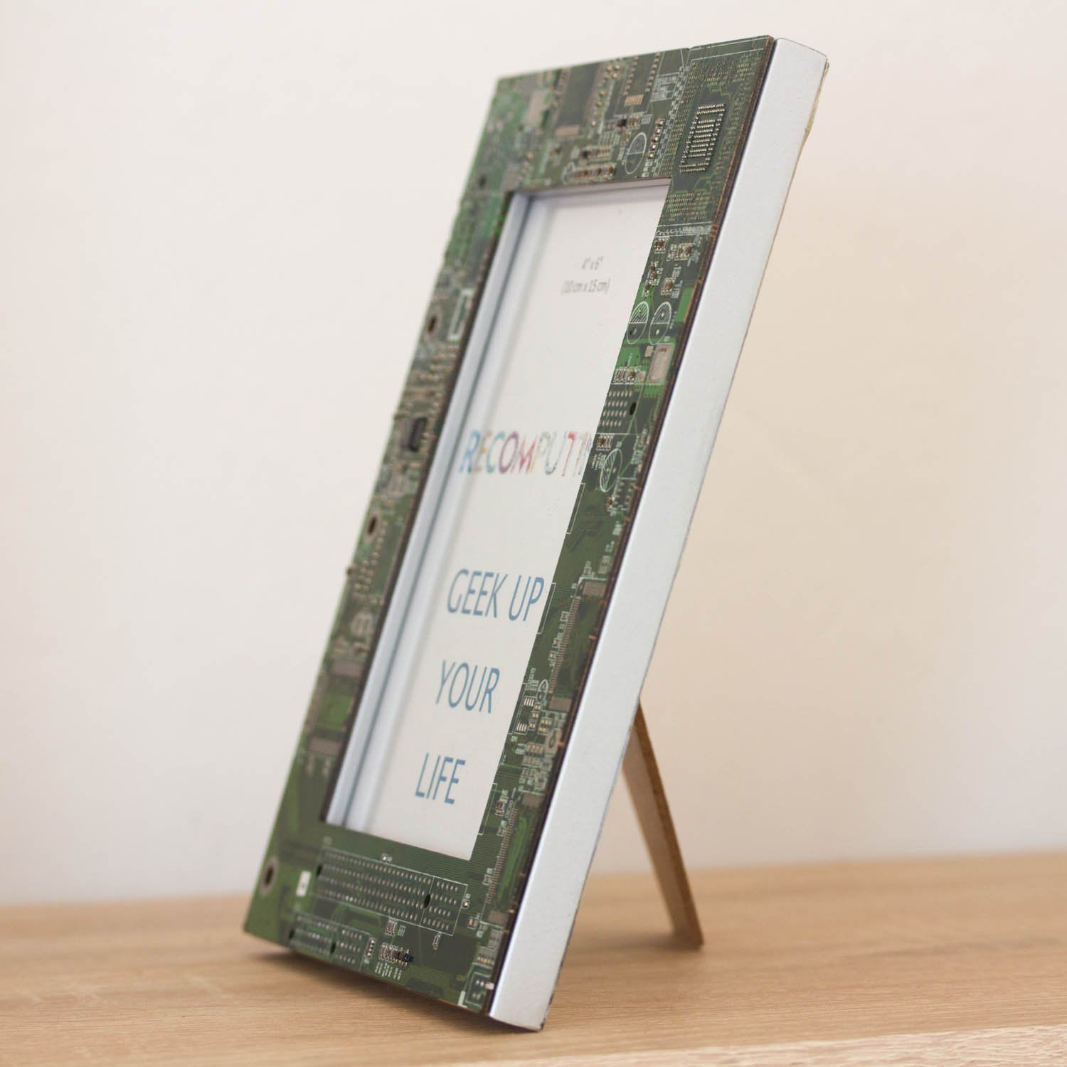 Picture frame, 4x6 inches, geek home decor, green circuit board photo frame with silver back