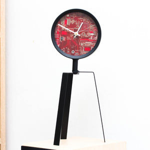 Techie Desk Clock made of red Circuit Board