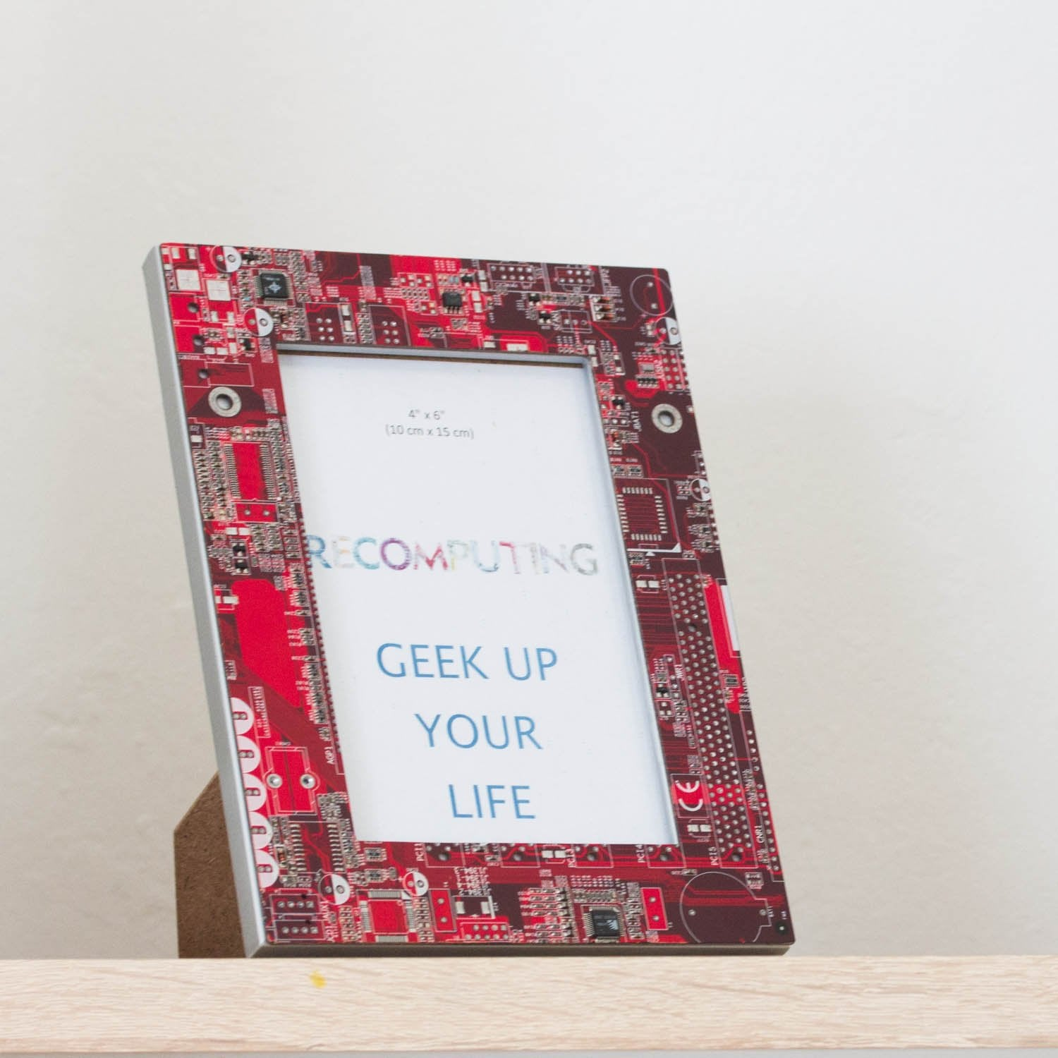 Picture frame, 4x6 inches, geek home decor, red circuit board photo frame
