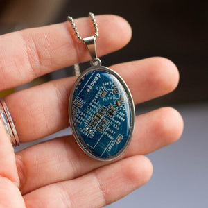 Circuit board necklace, oval