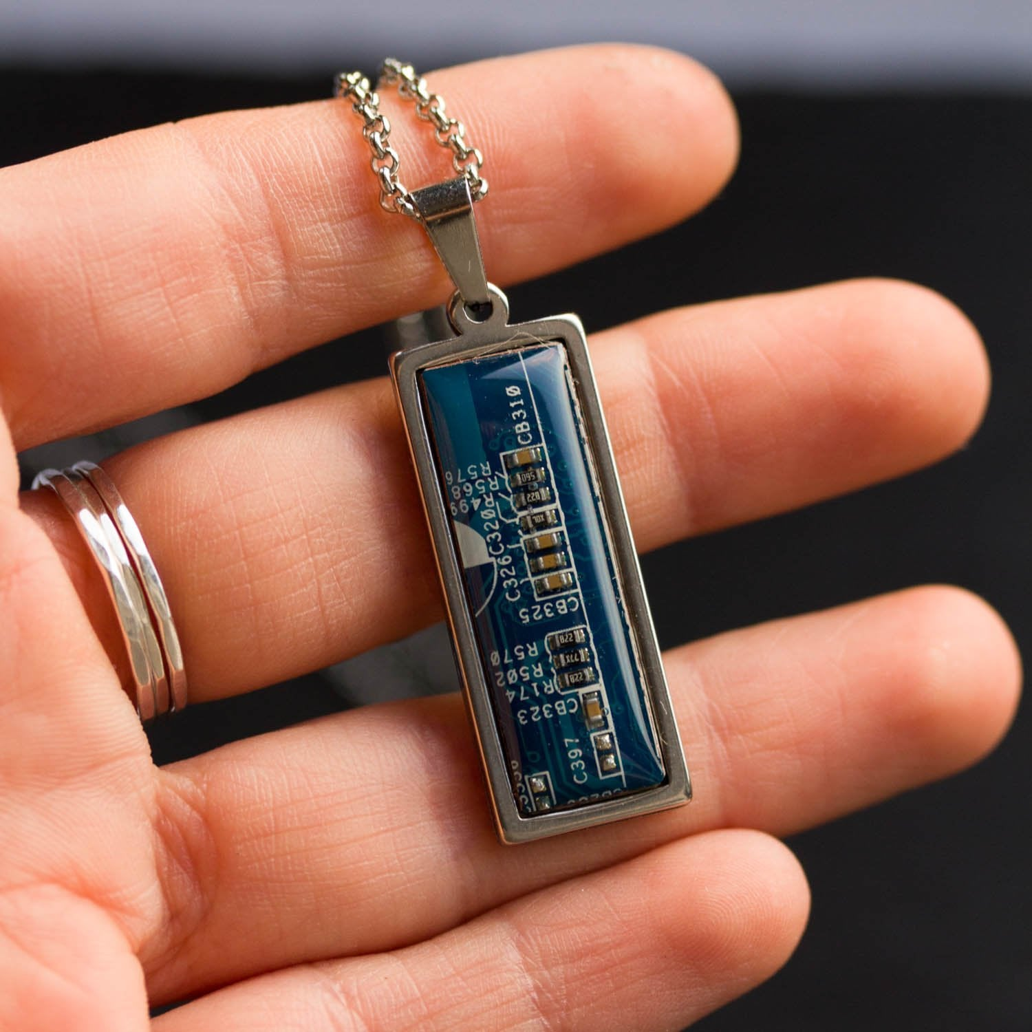 Circuit board necklace, small rectangle