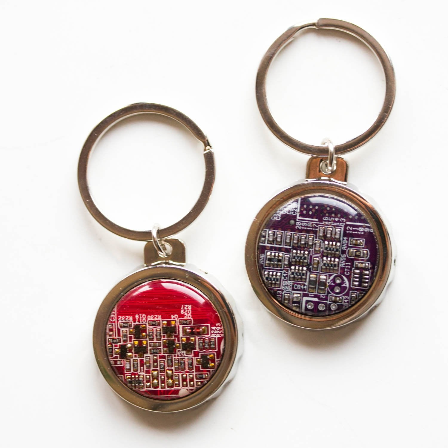 Bottle opener keychain with a round real circuit board piece