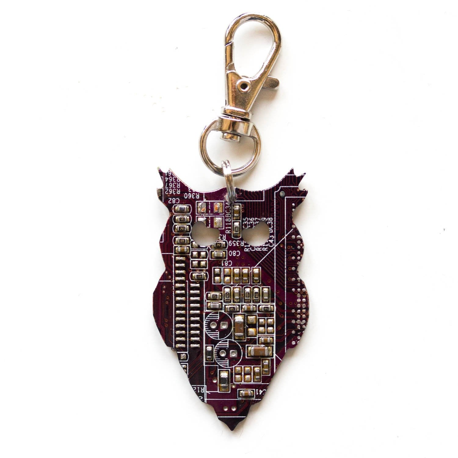 Circuit board owl keychain, recycled gift, computer nerd gift