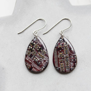 Circuit board earrings, purple dangle earrings, teardrop shape, recycled computers