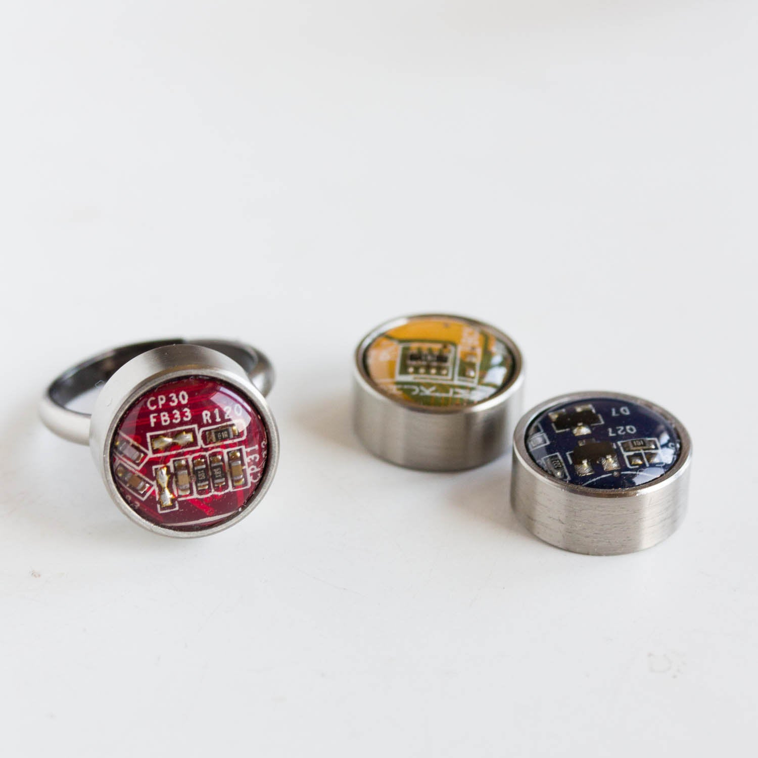 Ring with interchangeable buttons, recycled circuit board ring, unisex jewelry
