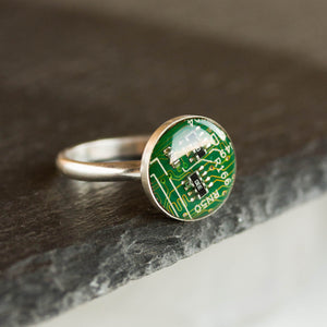 Sterling silver ring with real recycled circuit board piece