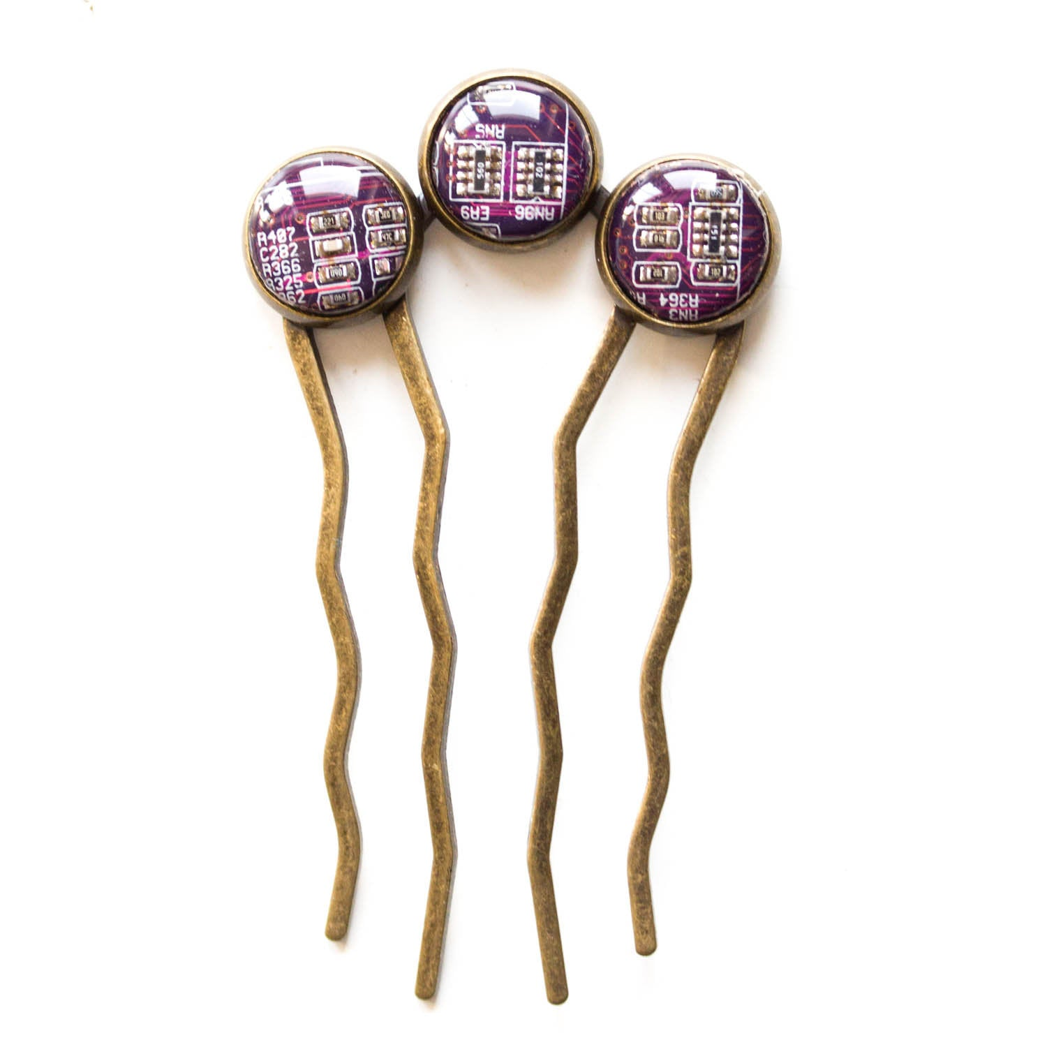 Colorful hair comb with three recycled circuit board pieces, unique hair accessory