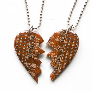 2 friendship necklaces - half heart necklaces, long distance relationship gift