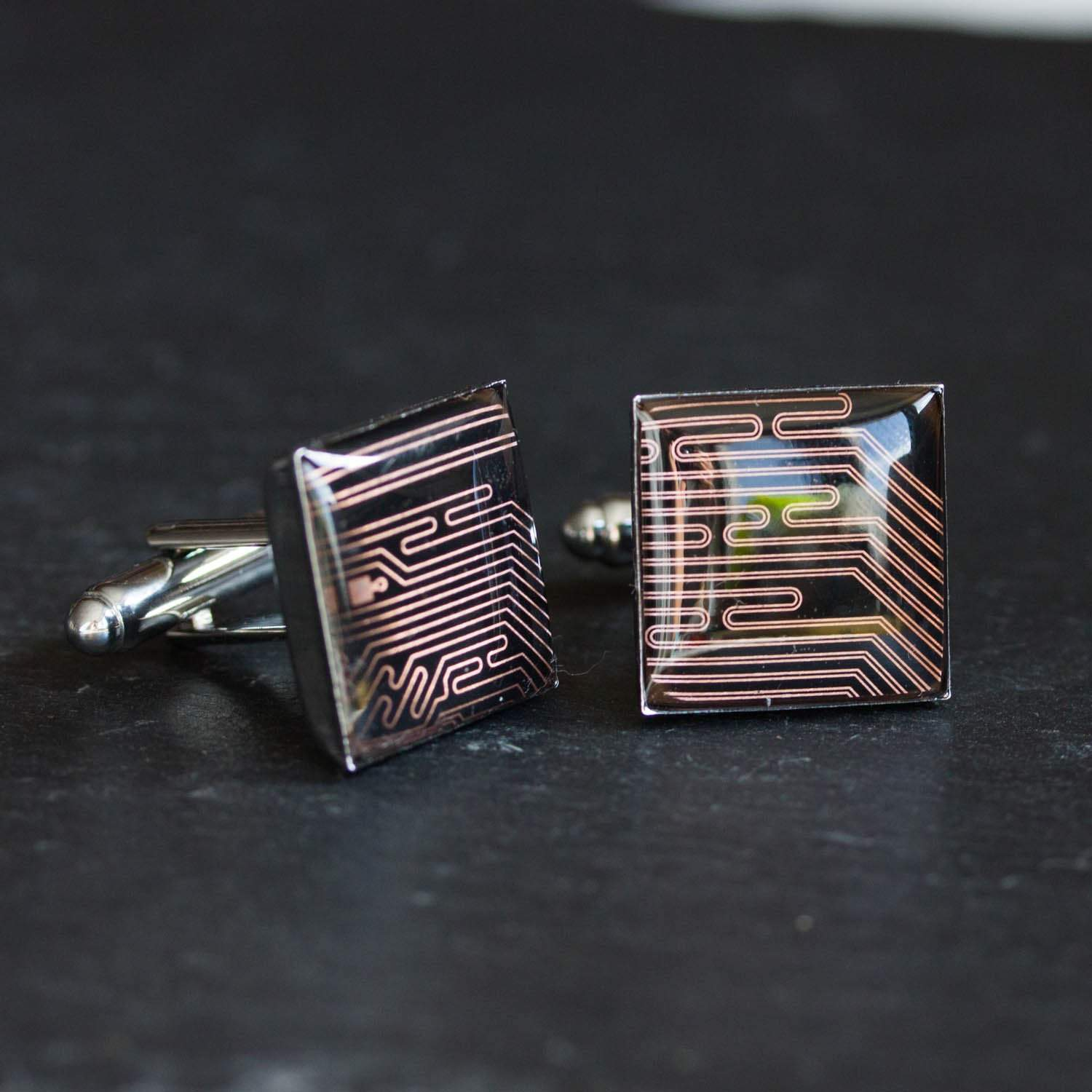 Black and Copper Cufflinks - unique circuit board cufflinks, gift for him