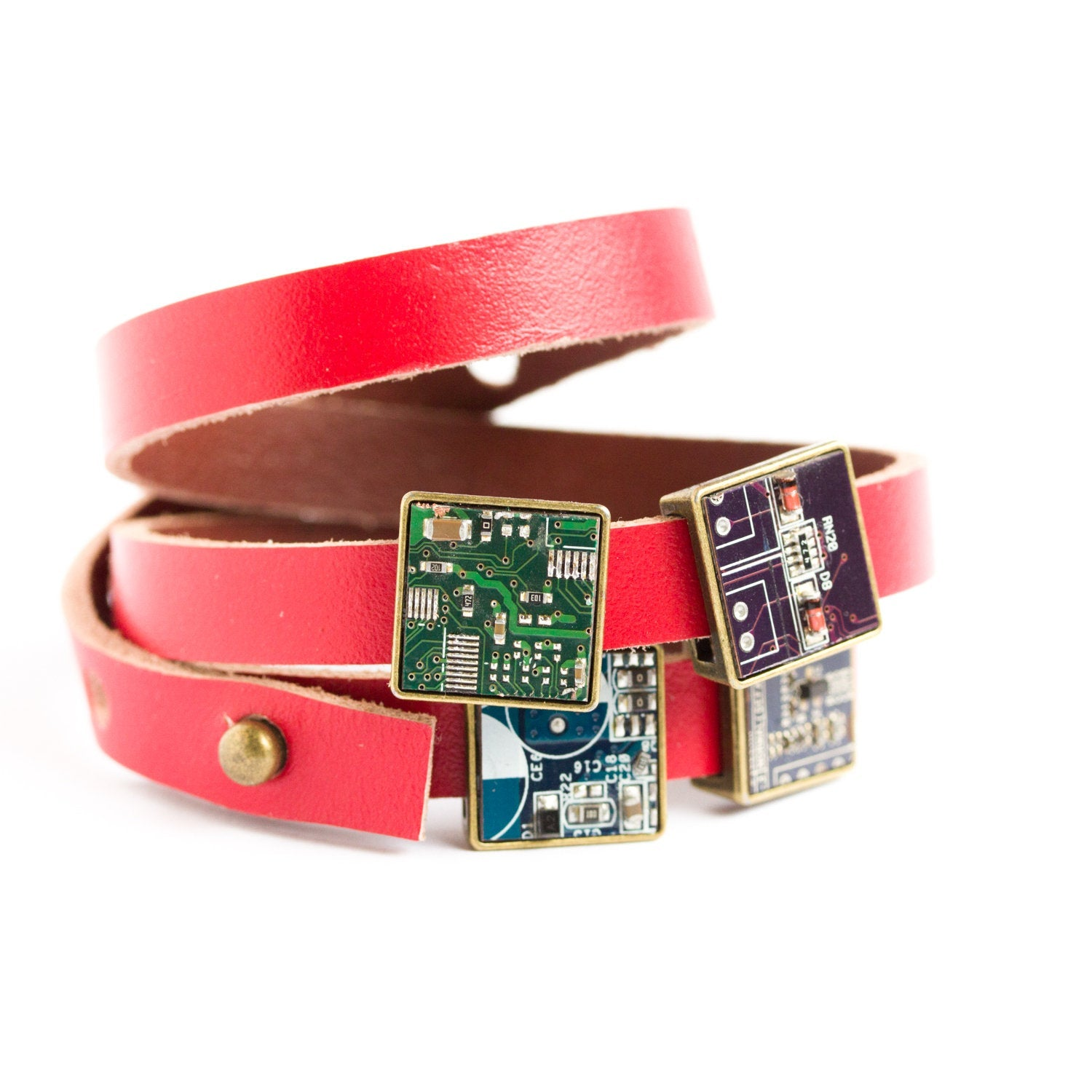 Wrap leather bracelet - customizable bracelet with circuit board beads