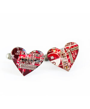Heart Cufflinks - real circuit boards, cufflinks for Modern Groom (Sample SALE)