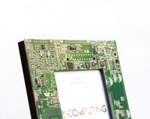 Picture frame, 4x6 inches, geek home decor, green circuit board photo frame with black back