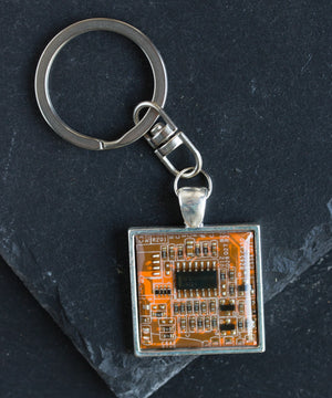 Circuit board keychain, square