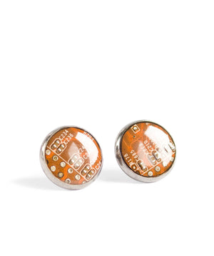 Circuit board round stud earrings
