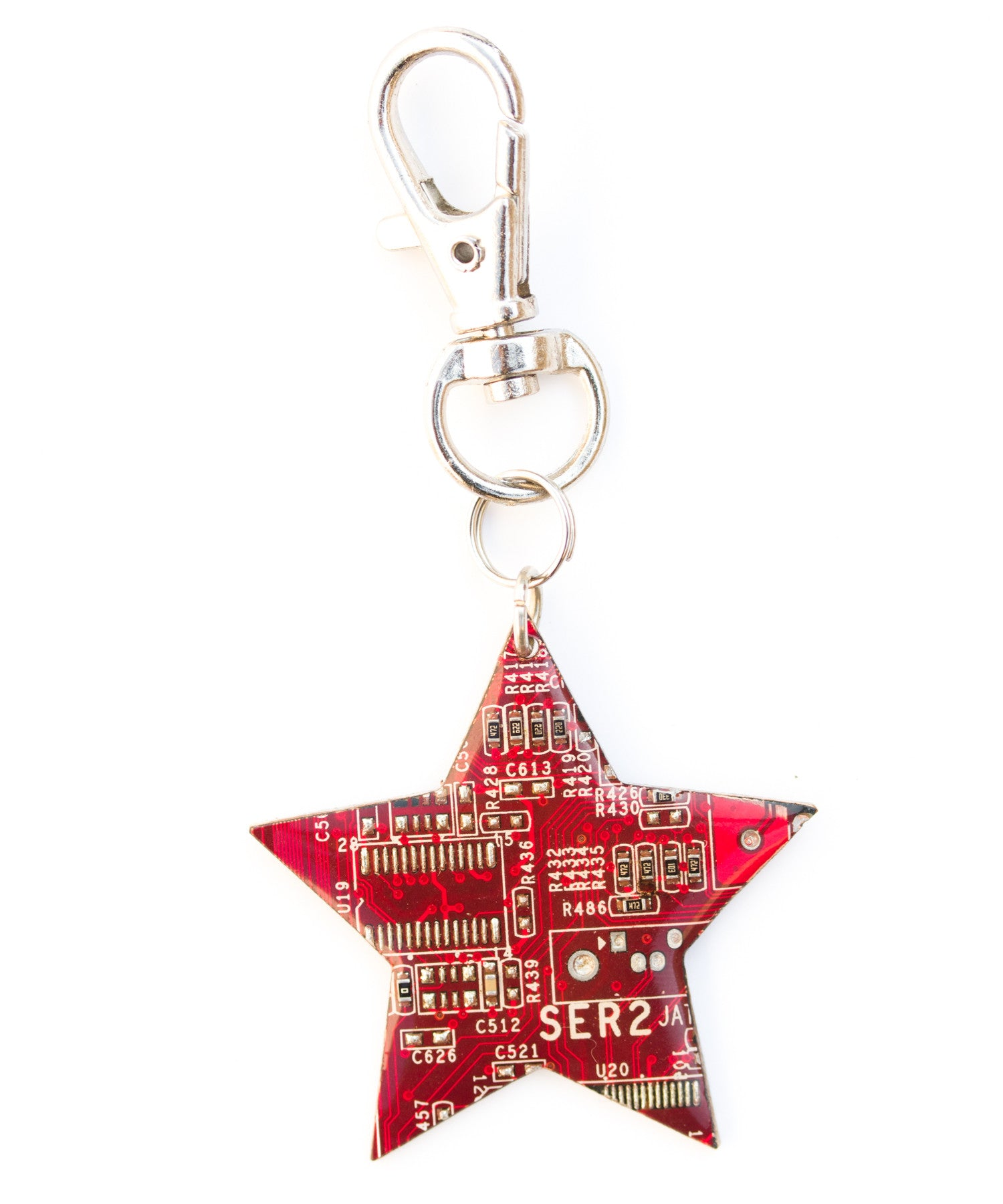 Circuit board star keychain