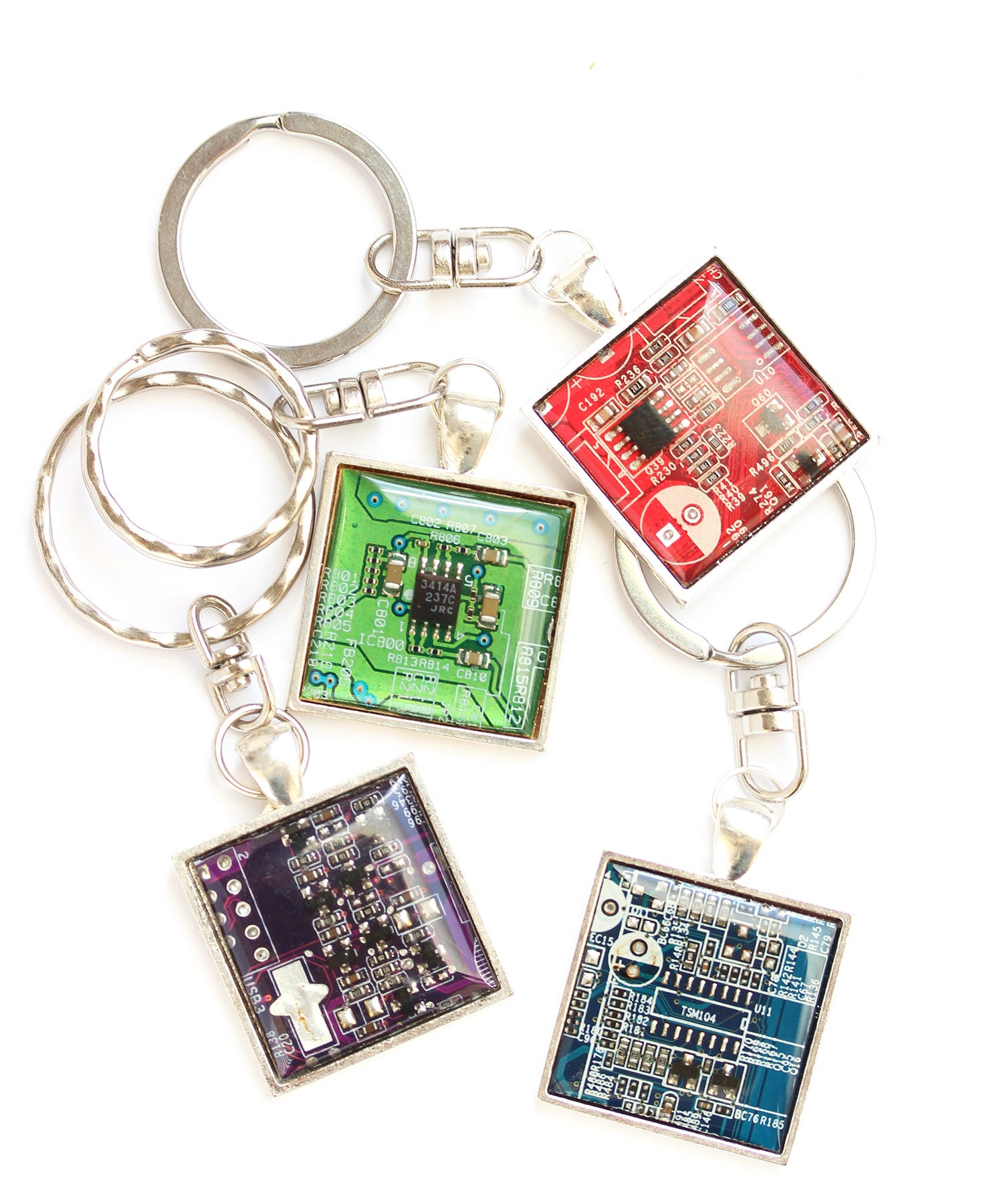geeky men's keychain, recycled circuit board
