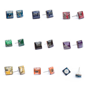 Circuit board square stud earrings