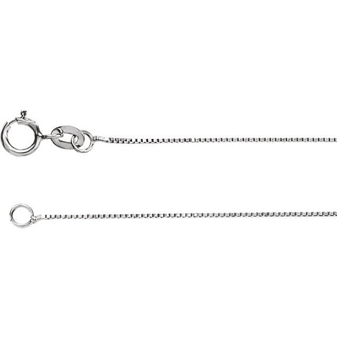 18K White Gold .50mm Box 16 Chain