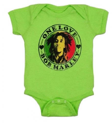 Bob Marley 'One Love' Lime Green Infant Romper