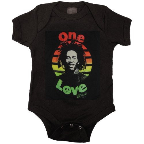 Bob Marley Peace Baby Snapsuit, Black (Small / 6M)