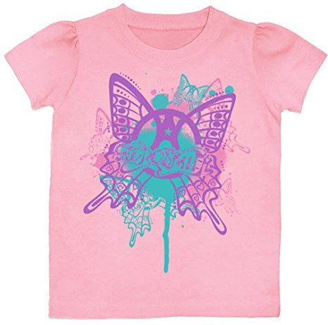 Aerosmith Butterfly Toddler Tee Shirt, Pink (4T)