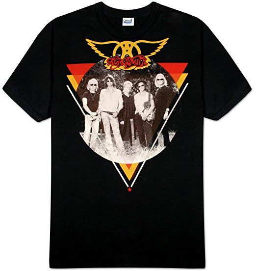 Aerosmith Triangle Circle Photo Men's T-Shirt (X-Large)