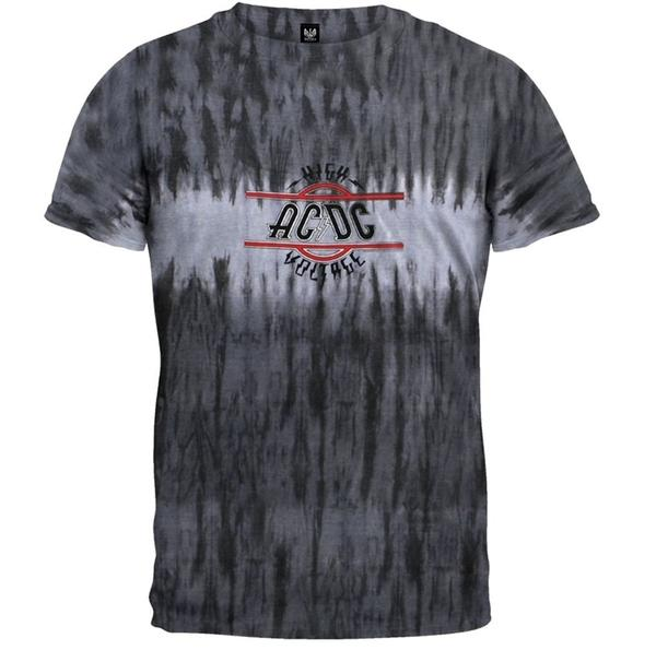 AC/DC High Voltage Men's Tie Dye T-Shirt, Grey (X-Large)