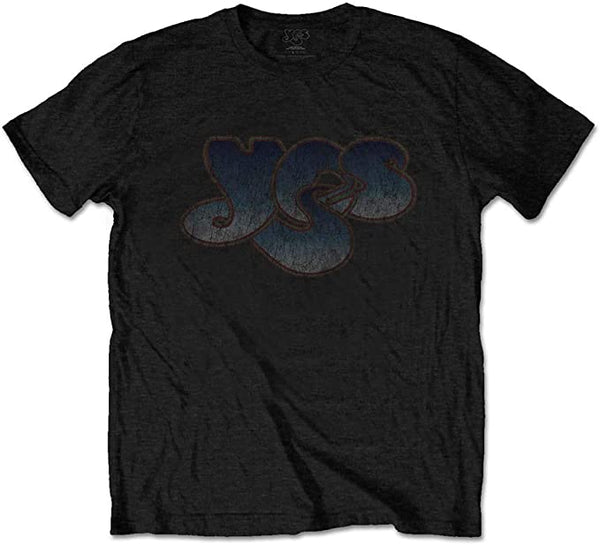 Yes Vintage Distressed Logo Men's T-shirt, Black