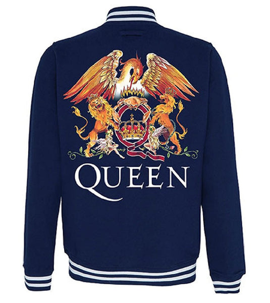 Queen Men's Varsity Jacket Classic Crest Logo, Blue (XX-Large)