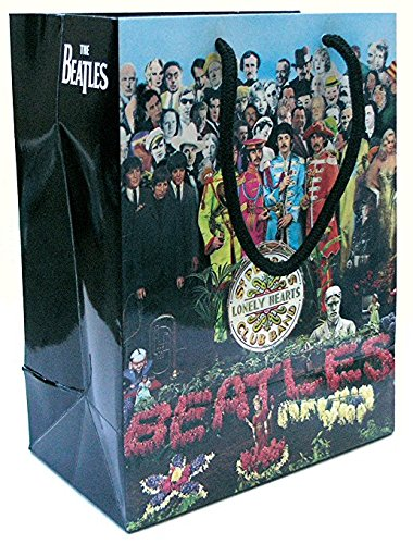 Beatles Sgt Pepper Gift Bag Glossy Coated Heavy Paper, Rope Handle, Multi