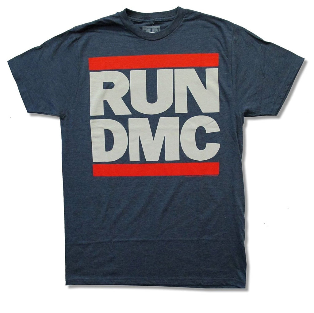 Run DMC Classic Logo Heather Blue T-Shirt (Small)