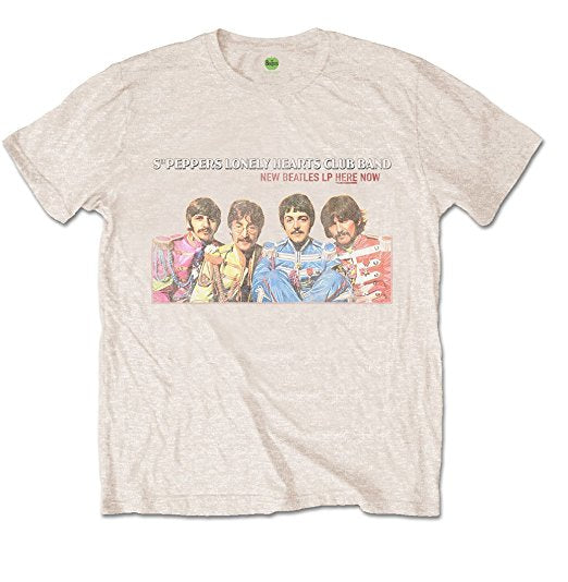 Beatles Sgt Pepper LP Here Now Men's T-Shirt, Tan